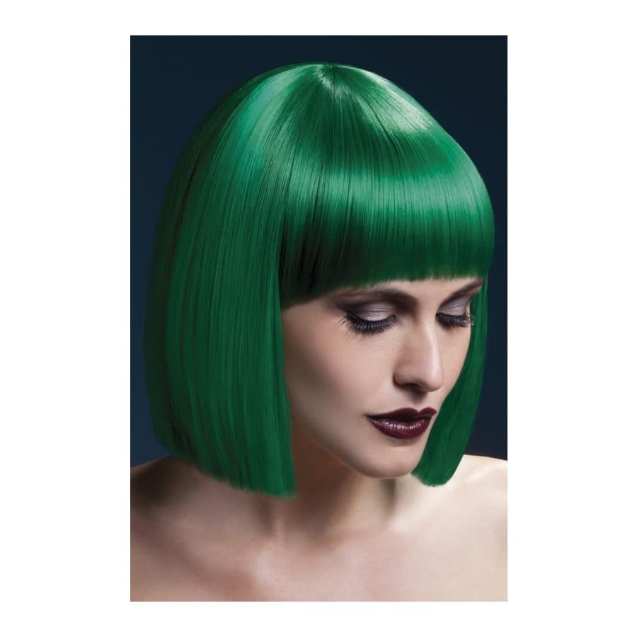 Perruque carré vert et frange. 30 cm