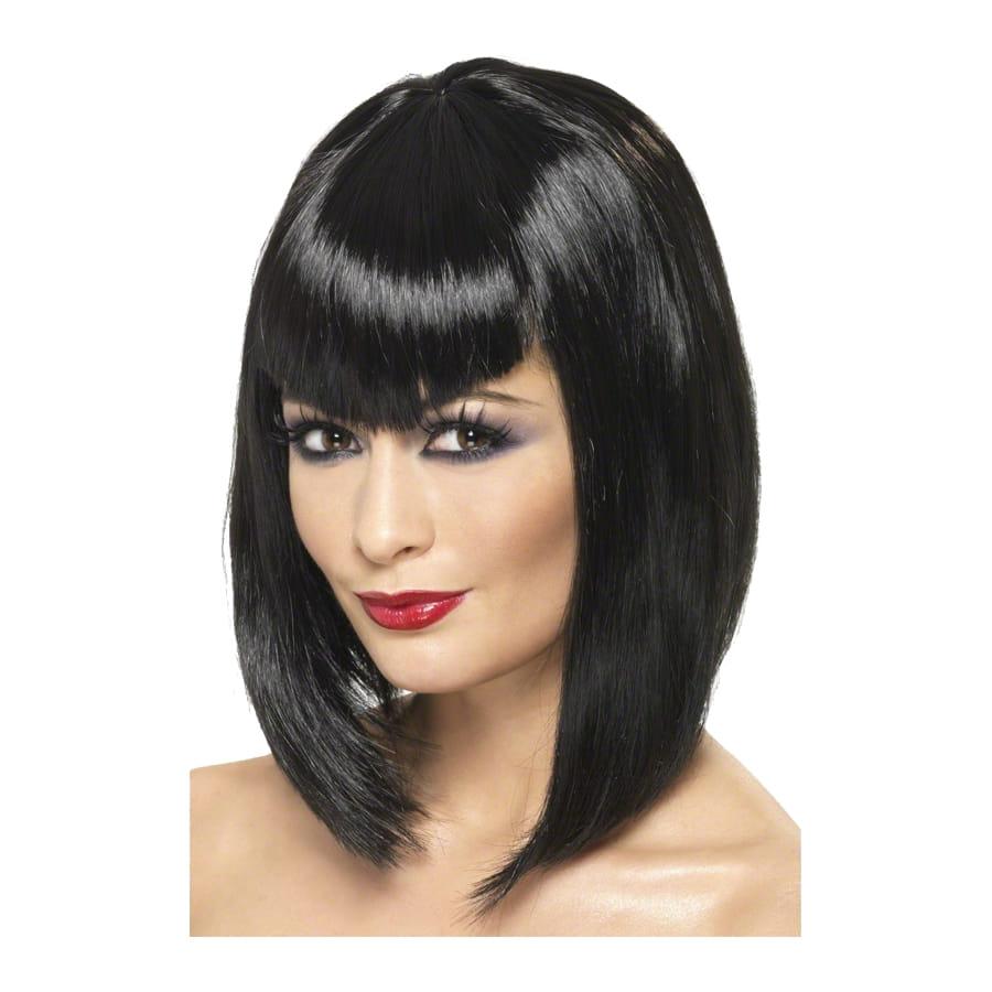 Perruque long carré noir glamour