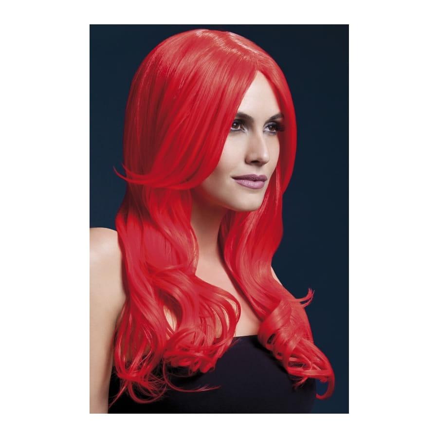 Perruque longue rouge avec mouvement