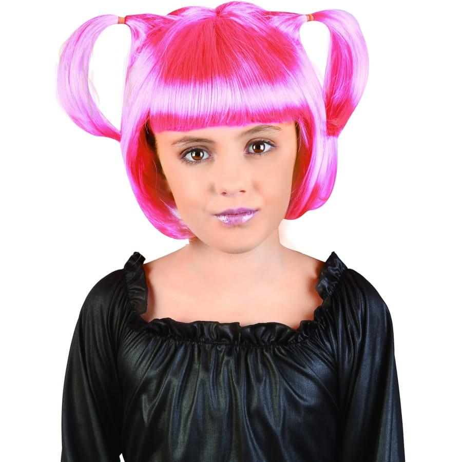 Perruque manga rose avec couettes pour enfant
