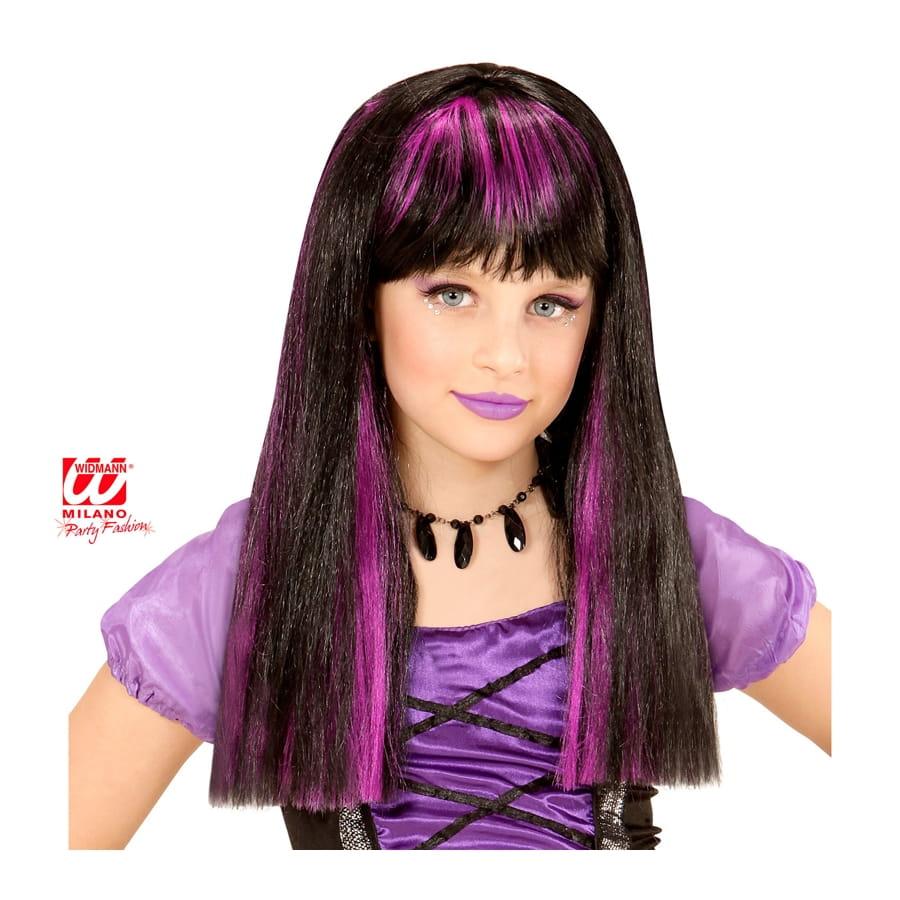 Perruque noire avec mèches violettes pour