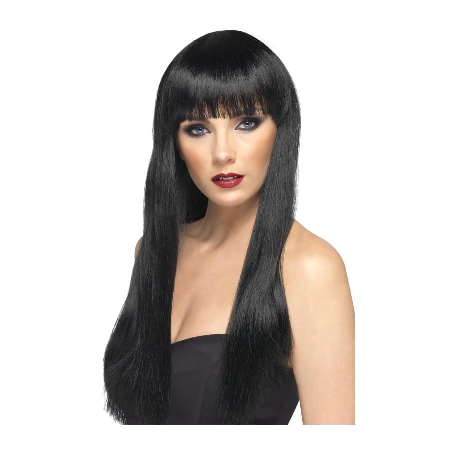 Perruque noire lisse avec frange, cheveux