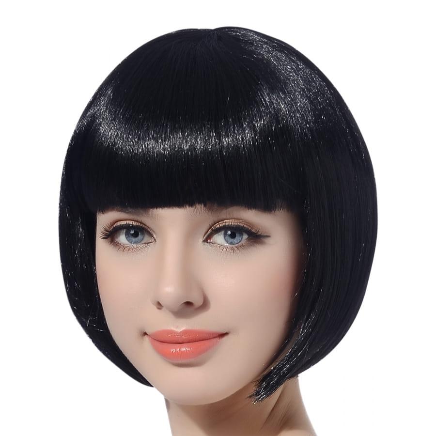 Perruque noire lisse carr court frange droite - Coupe courte avec frange droite ...
