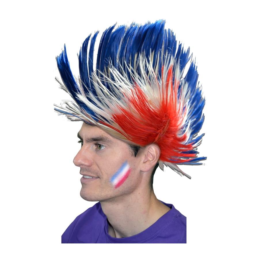 Perruque punk bleu/blanc/rouge