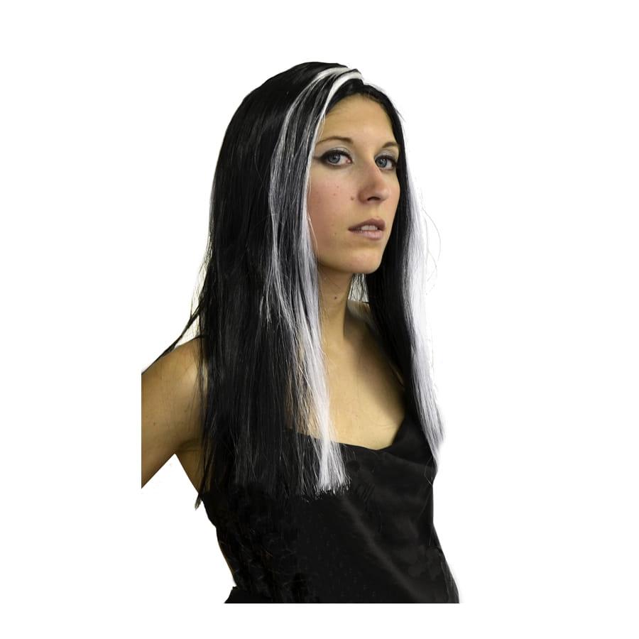 perruque sorci re long cheveux noir m che blanche. Black Bedroom Furniture Sets. Home Design Ideas