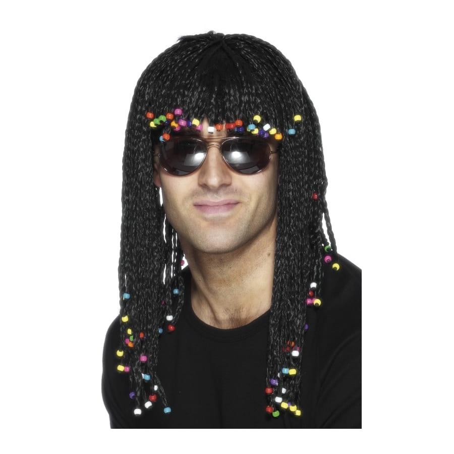 Perruque tressée avec perles pour homme