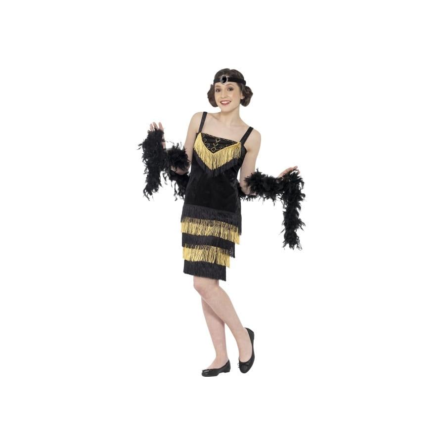 robe charleston a frange noire les tendances de la mode. Black Bedroom Furniture Sets. Home Design Ideas