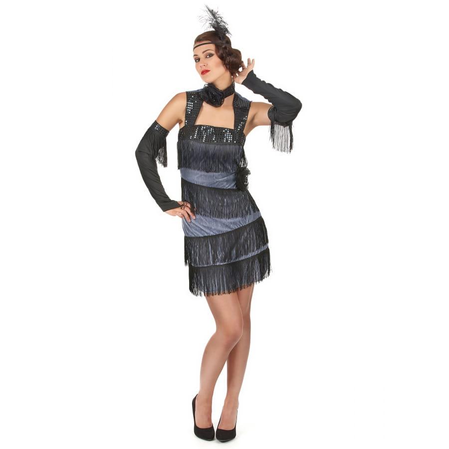 robe charleston noire et grise avec franges. Black Bedroom Furniture Sets. Home Design Ideas