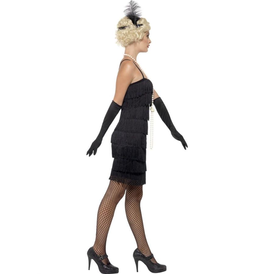 robe courte noire charleston franges. Black Bedroom Furniture Sets. Home Design Ideas