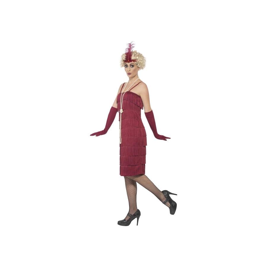 robe charleston rouge frange grande taile. Black Bedroom Furniture Sets. Home Design Ideas