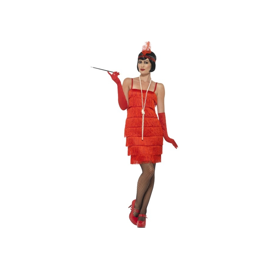 e1b1d9d6a4ea3 Robe courte rouge à franges style charleston