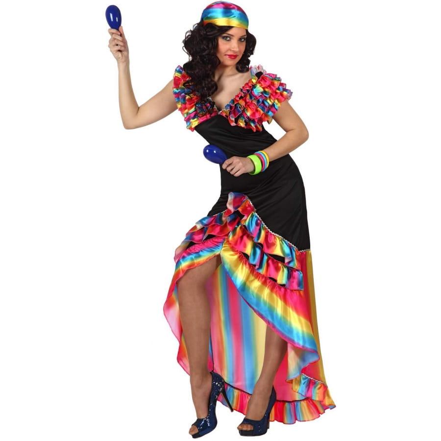 Robe Danseuse De Rumba Noire Et Multicolore