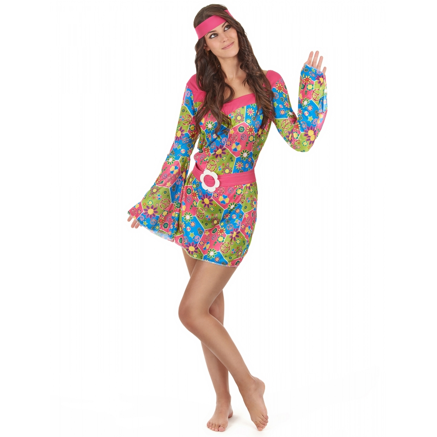 Robe hippie courte imprimé fleurs manches évasées
