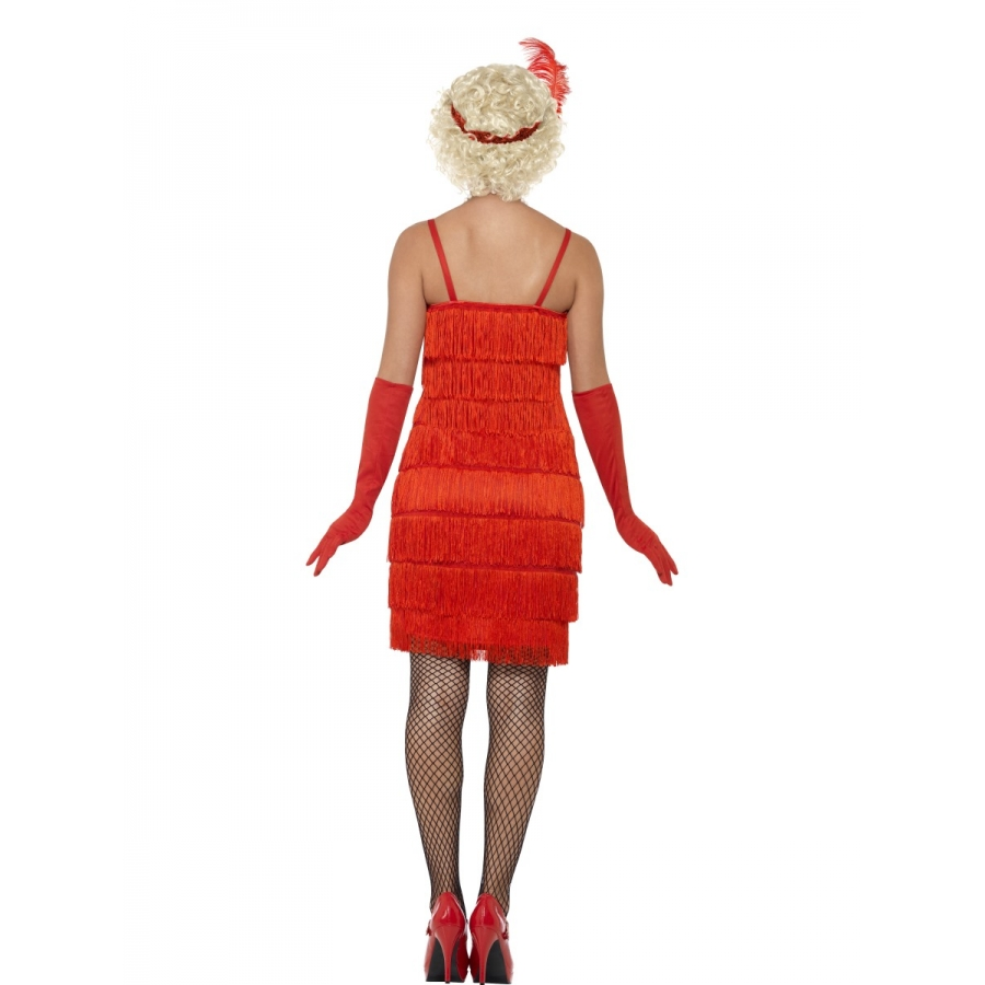 robe longue rouge charleston franges. Black Bedroom Furniture Sets. Home Design Ideas