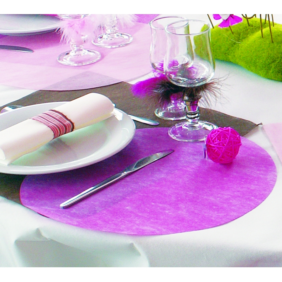 Sets de table non tiss ronds fuschia - Sets de table ronds ...