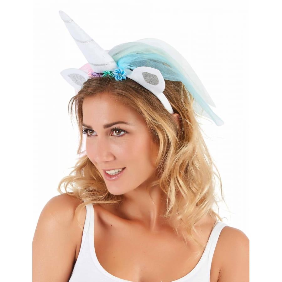 prix incroyables beau lustre acheter réel Serre tête licorne avec voilette multicolore femme