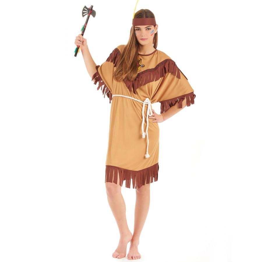 Tenue robe d 39 indienne marron clair pour femme - Tenue avec bottines marron ...