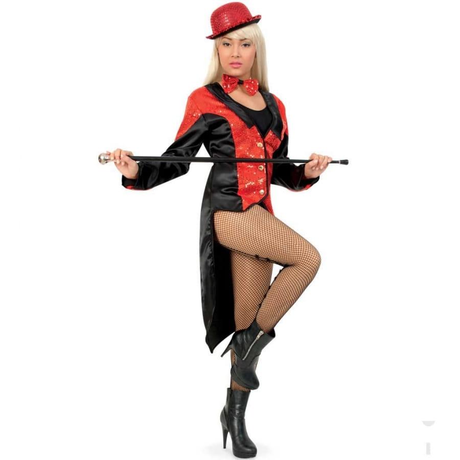 Veste queue de pie noire sequins rouge femme for Veste a carreaux rouge et noir
